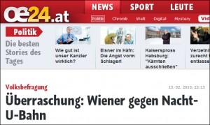 Überraschung: Wiener gegen Nacht-U-Bahn (oe24.at)