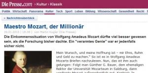 Maestro Mozart, der Millionär (diepresse.com, 30.1.2010)