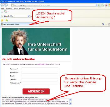 www.oe24.at, Schulbegehren zu Werbezwecken
