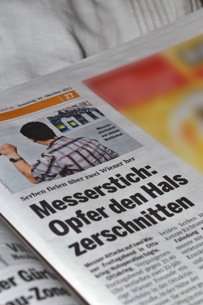 """Überschrift in """"Österreich"""" Serben fielen über zwei Wiener her. Messerstich: Opfer den Hals zerschnitten"""""""