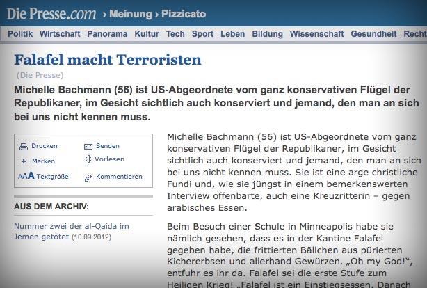 "Screenshot ""diePresse.com"": Falafel macht Terroristen"