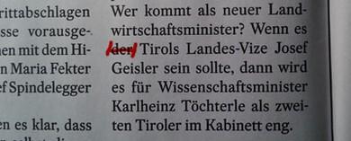 """Seite 32: """"Wenn es der Tirols Landes-Vize Josef Geisler sein sollte"""""""