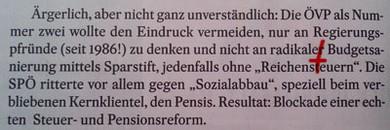 Seite 46: Die ÖVP wollte den Eindruck vermeiden, nicht an radikaler Budgetsanierung zu denken.