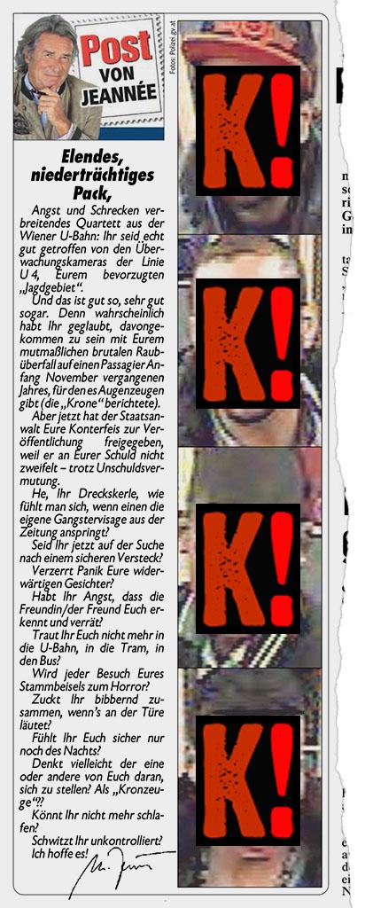 Kronen Zeitung, Post von Jeannée, 10.01.2014, S. 18