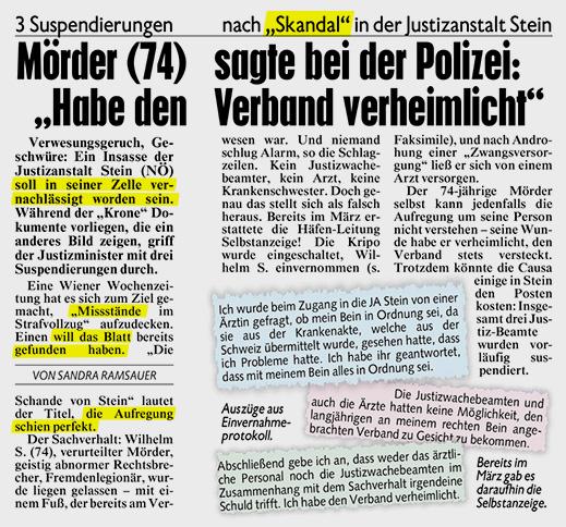 """Ein """"Skandal"""" in Anführungszeichen (Krone, 22.05.2014, S. 16)"""