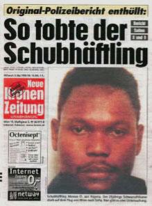 """""""So tobte der Schubhäftling"""" (Krone, 5.5.1999)"""