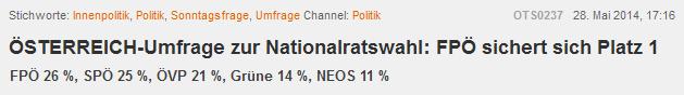 (ÖSTERREICH OTS, 28.05.2014)