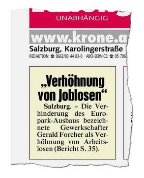 2015-04-10_Krone_Sbg_S1_Europark_Ausbaustopp_Verhoehnung_von_Arbeitslosen_ausriss